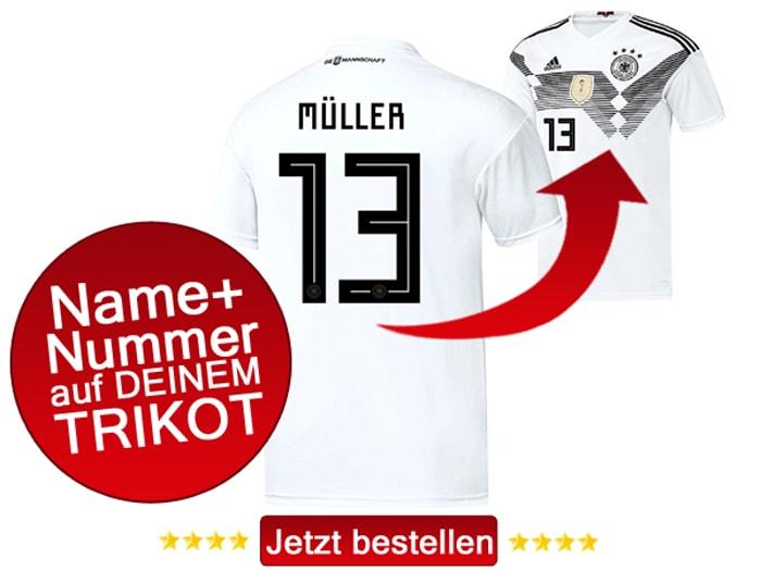 Jetzt das neue DFB Trikot mit Beflockung und Spielername und Trikotnnummer bestellen.